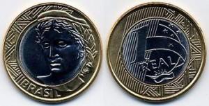 1 brazilian real  coin